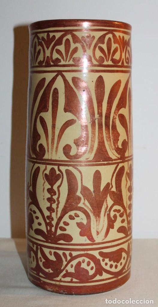 Antigüedades: JARRÓN CILÍNDRICO EN CERÁMICA DE REFLEJOS METÁLICOS DE MANISES - PRINCIPIOS DEL SIGLO XX - Foto 2 - 114289343