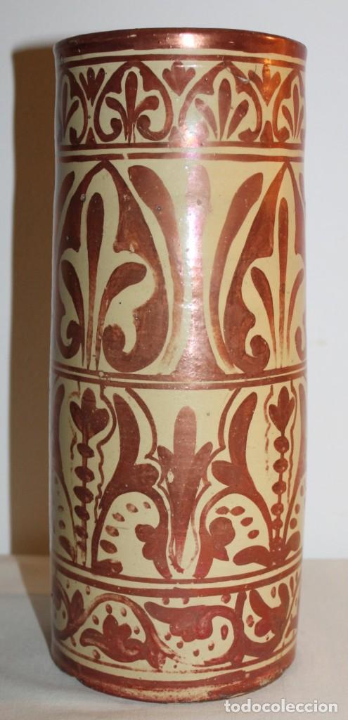 Antigüedades: JARRÓN CILÍNDRICO EN CERÁMICA DE REFLEJOS METÁLICOS DE MANISES - PRINCIPIOS DEL SIGLO XX - Foto 3 - 114289343