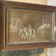 Antigüedades: ANTIGUO CUADRO GRANDE PLATEADO DEL SIGLO XIX CUADRIGAS ROMA CON MARCA FIRMA. Lote 114337663
