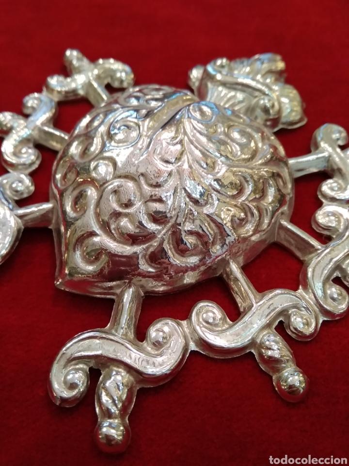 Antigüedades: Corazón doloroso de los 7 puñales 9,5 x 9,5 cm plateado con baño de plata ( nuevo) - Foto 3 - 114344322