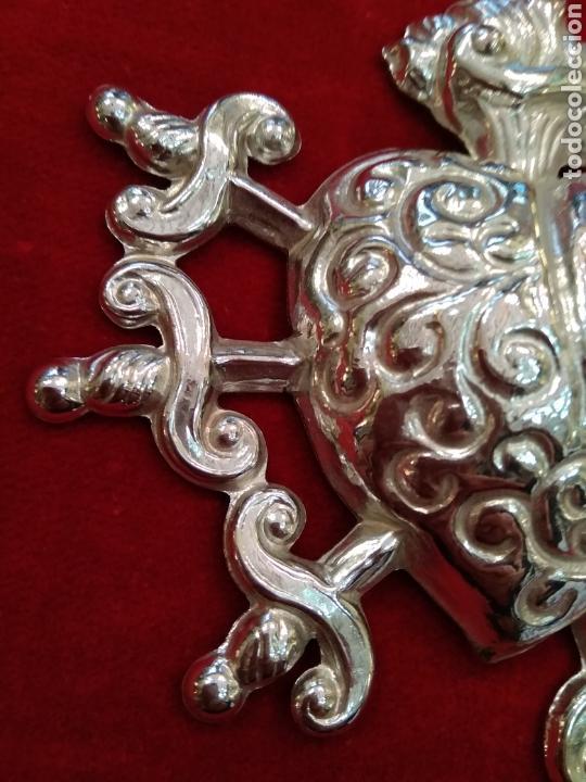 Antigüedades: Corazón doloroso de los 7 puñales 9,5 x 9,5 cm plateado con baño de plata ( nuevo) - Foto 2 - 114344322