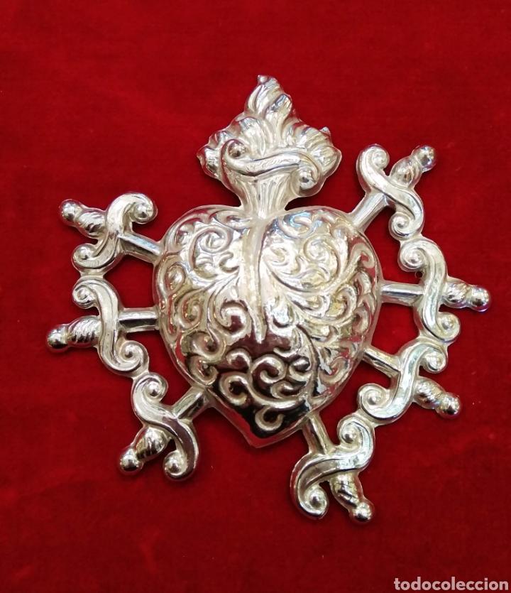 Antigüedades: Corazón doloroso de los 7 puñales 9,5 x 9,5 cm plateado con baño de plata ( nuevo) - Foto 4 - 114344322