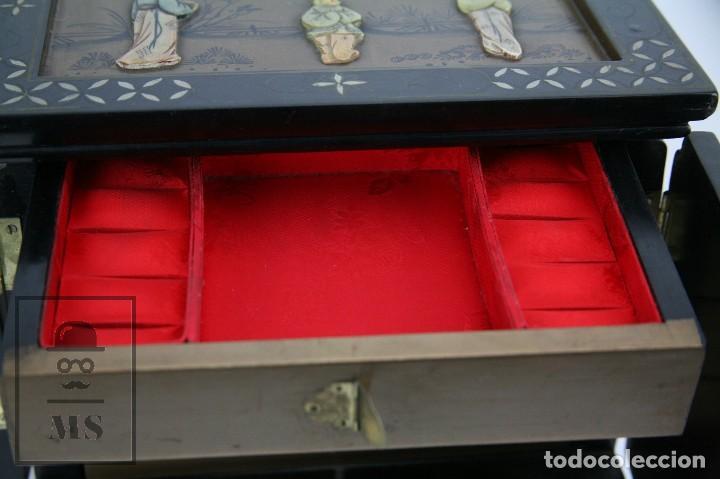 Antigüedades: Joyero Oriental Madera Lacada - Latón e Incrustaciones Tipo Hueso - Pintado a Mano - Siglo XX - Foto 10 - 114348731