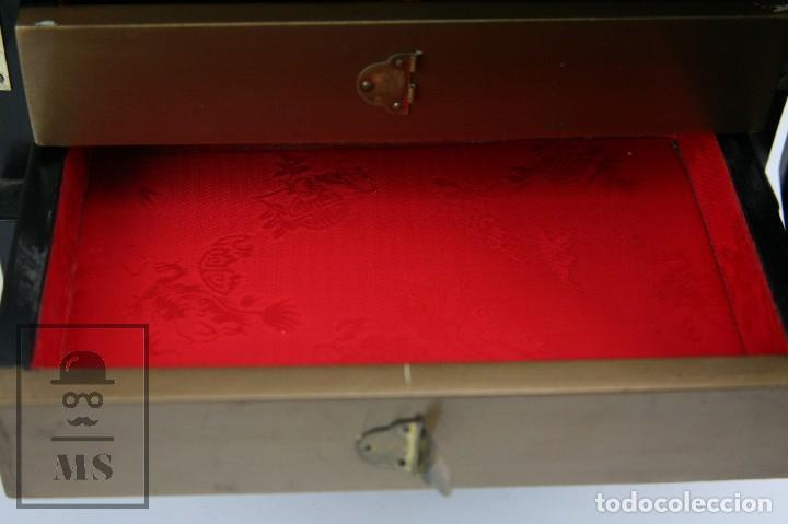 Antigüedades: Joyero Oriental Madera Lacada - Latón e Incrustaciones Tipo Hueso - Pintado a Mano - Siglo XX - Foto 12 - 114348731