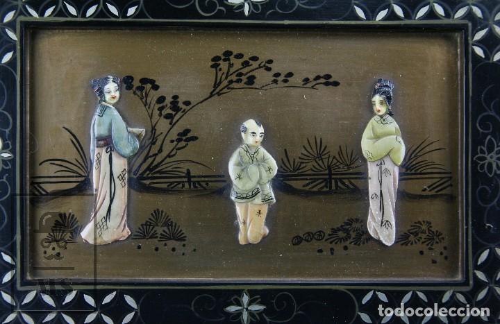 Antigüedades: Joyero Oriental Madera Lacada - Latón e Incrustaciones Tipo Hueso - Pintado a Mano - Siglo XX - Foto 13 - 114348731