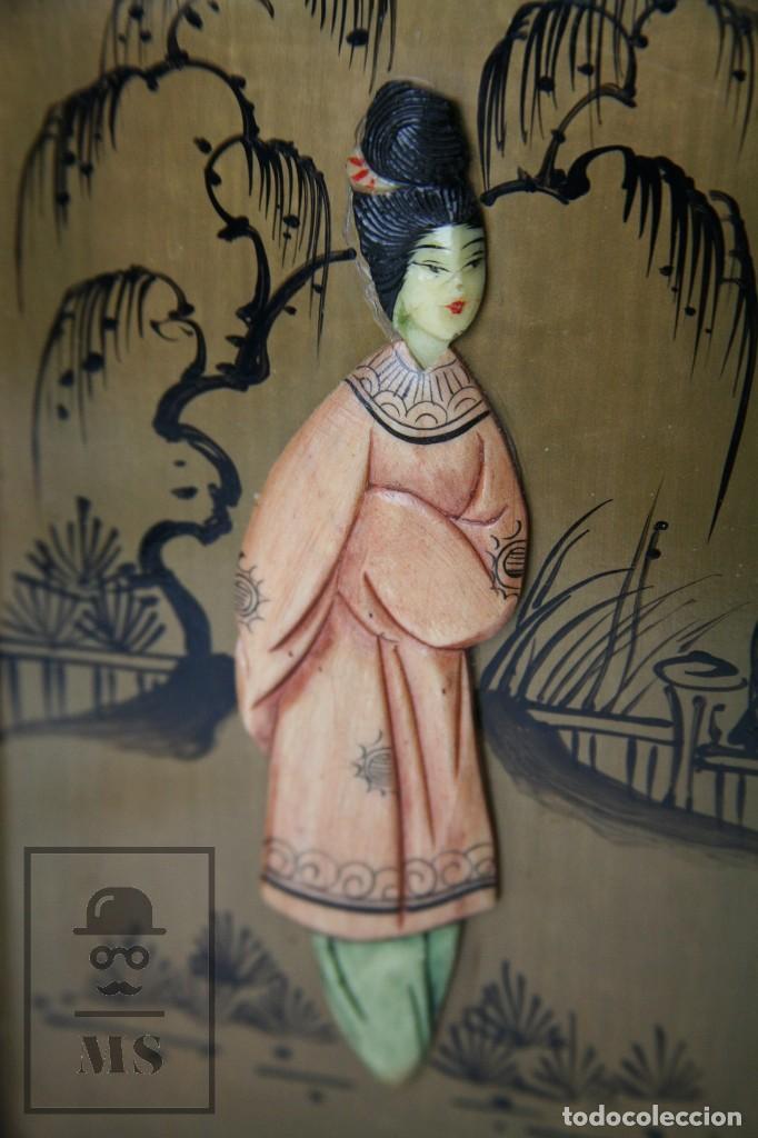 Antigüedades: Joyero Oriental Madera Lacada - Latón e Incrustaciones Tipo Hueso - Pintado a Mano - Siglo XX - Foto 16 - 114348731