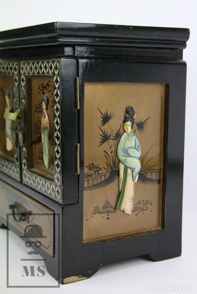 Antigüedades: Joyero Oriental Madera Lacada - Latón e Incrustaciones Tipo Hueso - Pintado a Mano - Siglo XX - Foto 17 - 114348731