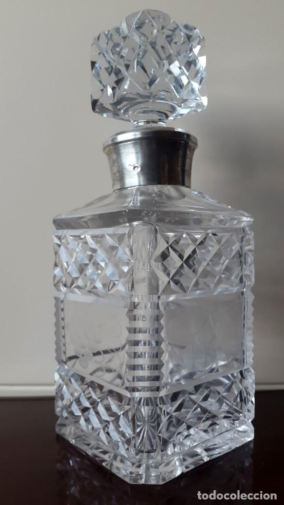 LICORERA CRISTAL BOHEMIA Y PLATA (Antigüedades - Cristal y Vidrio - Bohemia)