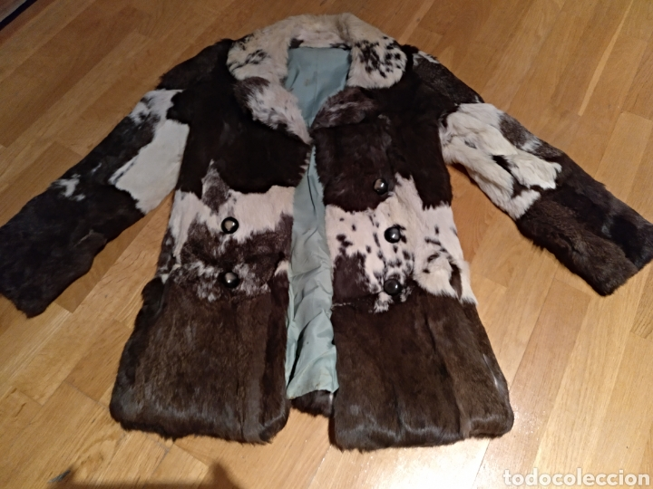 Abrigo mujer piel de conejo. Años 70 chaqueta 3/4 pelo, usado segunda mano