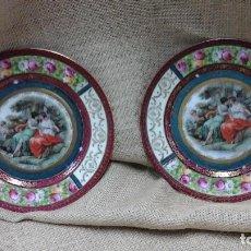 Antigüedades - Pareja de platos decorados en fina porcelana . Ppios siglo xx - 114402291