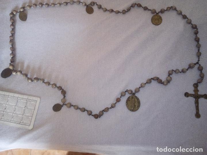 Antigüedades: Valencia. Robusto rosario antiguo con 6 medallas de calidad. Siglo XIX. Espectacular estado - Foto 2 - 114441407