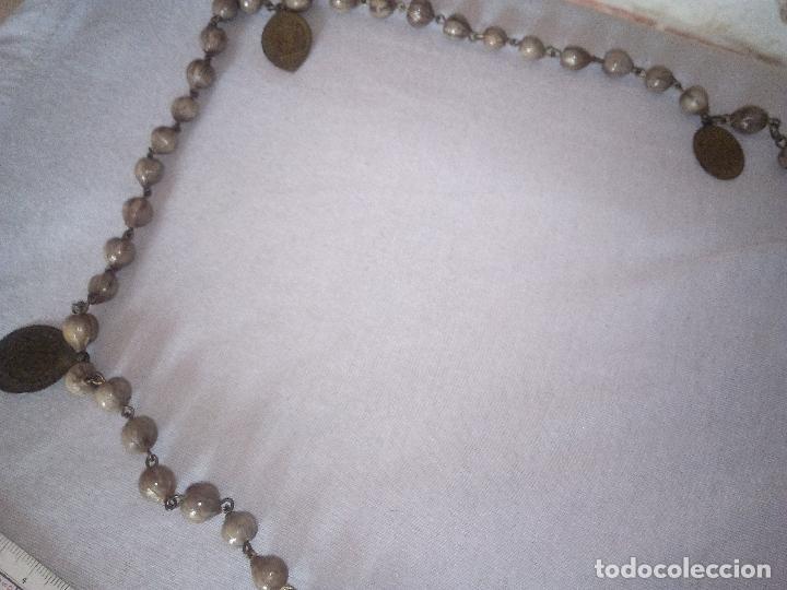 Antigüedades: Valencia. Robusto rosario antiguo con 6 medallas de calidad. Siglo XIX. Espectacular estado - Foto 4 - 114441407