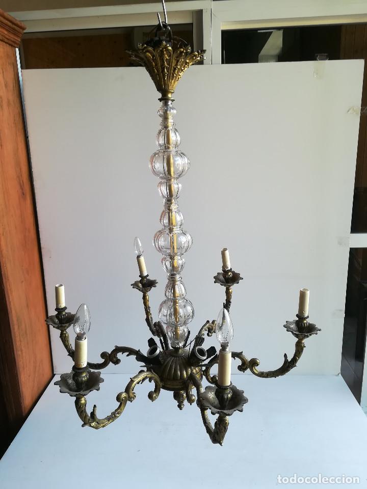 LAMPARA DE BRONCE Y CRISTAL PARA NUEVE LUCES (Antigüedades - Iluminación - Lámparas Antiguas)