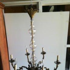 Antigüedades: LAMPARA DE BRONCE Y CRISTAL PARA NUEVE LUCES. Lote 114441451