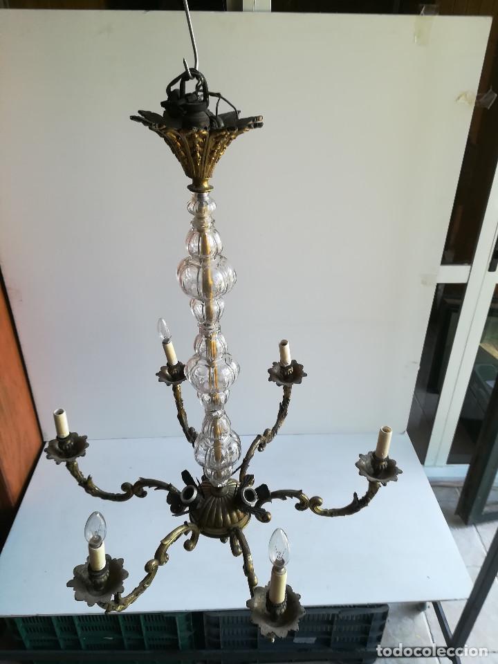 Antigüedades: LAMPARA DE BRONCE Y CRISTAL PARA NUEVE LUCES - Foto 2 - 114441451