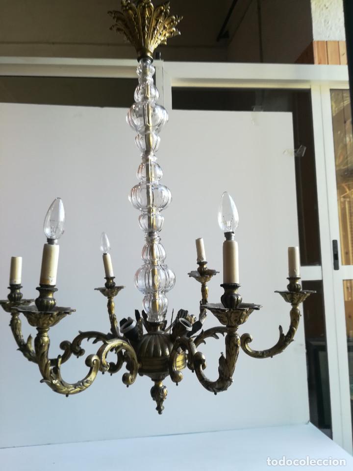 Antigüedades: LAMPARA DE BRONCE Y CRISTAL PARA NUEVE LUCES - Foto 4 - 114441451