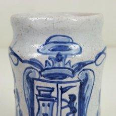 Antigüedades: ALBARELO O TARRO DE FARMACIA. CERÁMICA ESMALTADA. PINTADA A MANO. TALAVERA. SIGLO XIX-XX. . Lote 114448343