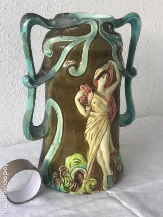 Antigüedades: IMPORTANTE JARRON MODERNISTA DE GRAN TAMAÑO 1920 , ART NOUVEAU. LOZA ESMALTADA. - Foto 2 - 114512479