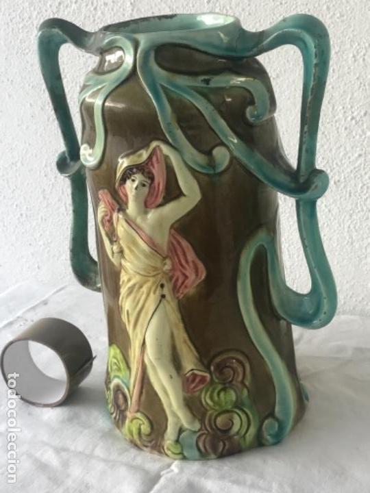 Antigüedades: IMPORTANTE JARRON MODERNISTA DE GRAN TAMAÑO 1920 , ART NOUVEAU. LOZA ESMALTADA. - Foto 3 - 114512479