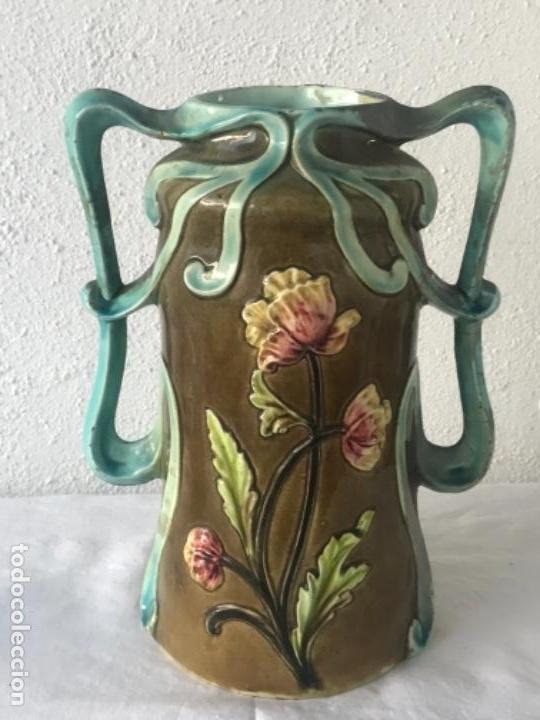 Antigüedades: IMPORTANTE JARRON MODERNISTA DE GRAN TAMAÑO 1920 , ART NOUVEAU. LOZA ESMALTADA. - Foto 4 - 114512479