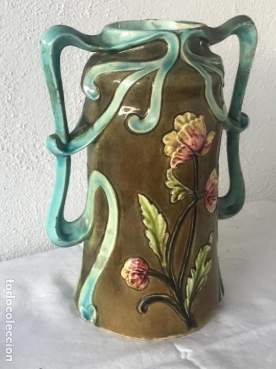 Antigüedades: IMPORTANTE JARRON MODERNISTA DE GRAN TAMAÑO 1920 , ART NOUVEAU. LOZA ESMALTADA. - Foto 5 - 114512479