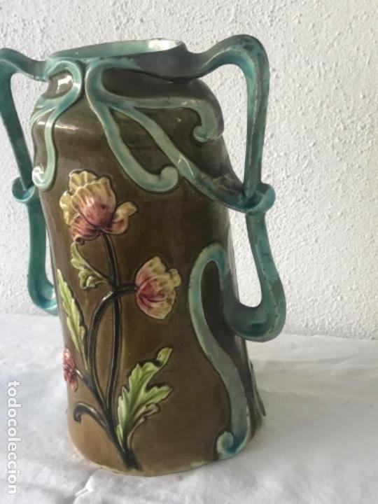 Antigüedades: IMPORTANTE JARRON MODERNISTA DE GRAN TAMAÑO 1920 , ART NOUVEAU. LOZA ESMALTADA. - Foto 6 - 114512479