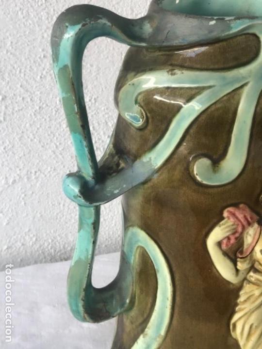 Antigüedades: IMPORTANTE JARRON MODERNISTA DE GRAN TAMAÑO 1920 , ART NOUVEAU. LOZA ESMALTADA. - Foto 7 - 114512479