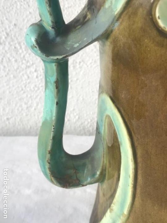 Antigüedades: IMPORTANTE JARRON MODERNISTA DE GRAN TAMAÑO 1920 , ART NOUVEAU. LOZA ESMALTADA. - Foto 9 - 114512479