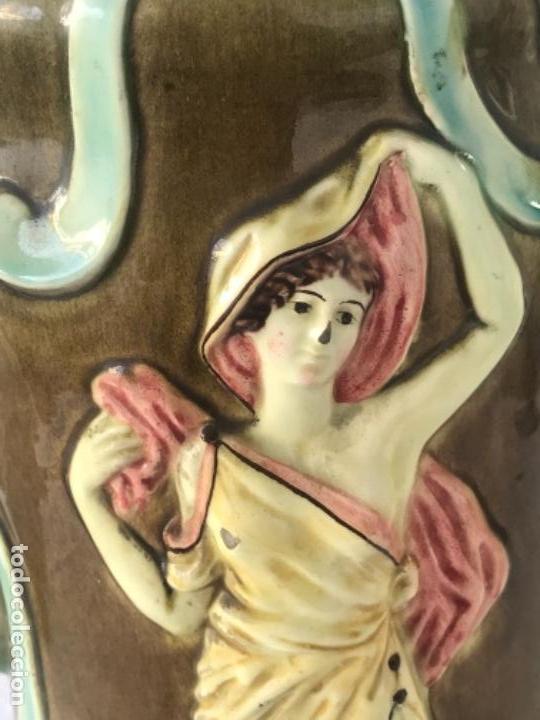 Antigüedades: IMPORTANTE JARRON MODERNISTA DE GRAN TAMAÑO 1920 , ART NOUVEAU. LOZA ESMALTADA. - Foto 10 - 114512479