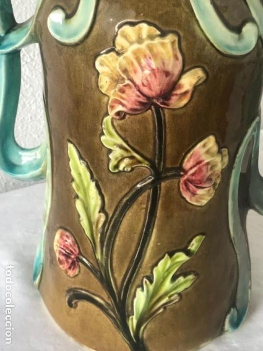 Antigüedades: IMPORTANTE JARRON MODERNISTA DE GRAN TAMAÑO 1920 , ART NOUVEAU. LOZA ESMALTADA. - Foto 11 - 114512479