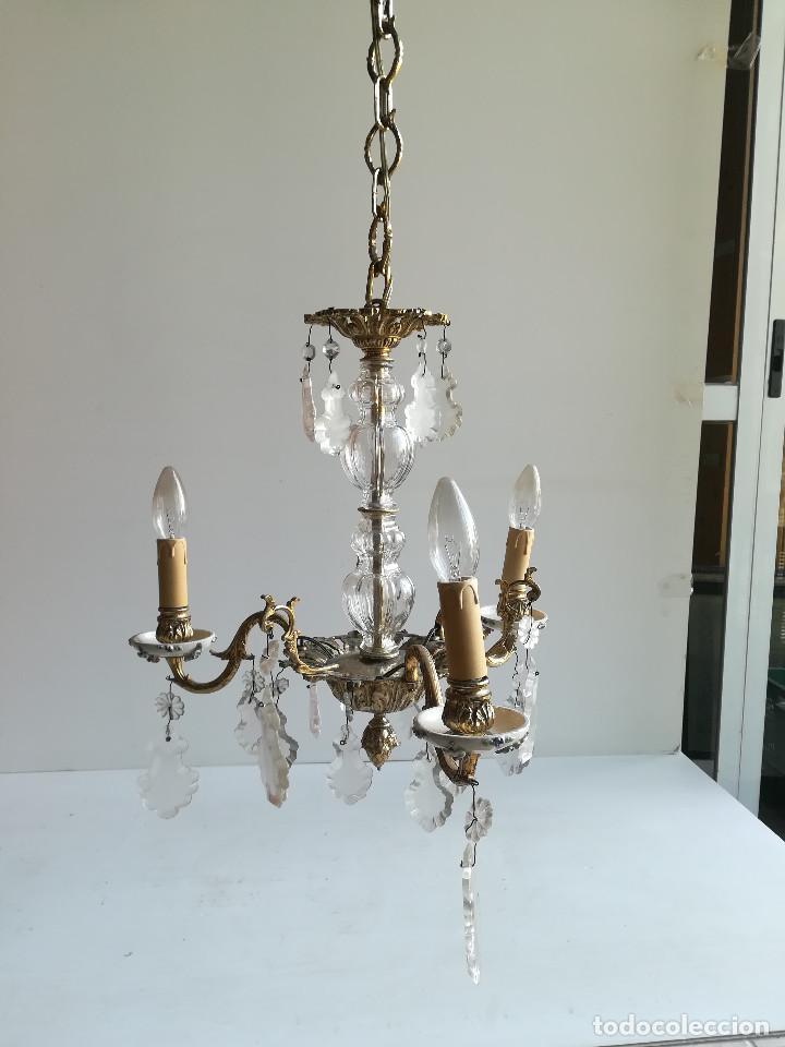 LAMPARA DE BRONCE, CRISTAL Y PORCELANA PARA CINCO LUCES (Antigüedades - Iluminación - Lámparas Antiguas)