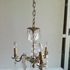Antigüedades: LAMPARA DE BRONCE, CRISTAL Y PORCELANA PARA CINCO LUCES. Lote 114514835