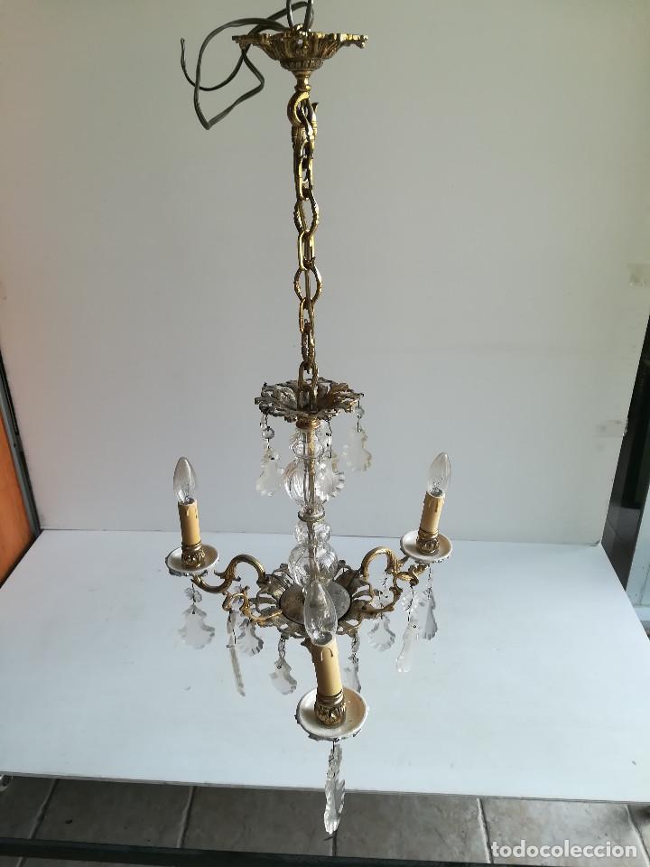 Antigüedades: LAMPARA DE BRONCE, CRISTAL Y PORCELANA PARA CINCO LUCES - Foto 2 - 114514835