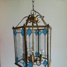 Antigüedades - FAROL EXAGONAL BRONCE Y CRISTAL EMPLOMADO, SEIS LUCES - 114519291