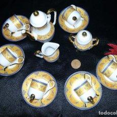 Antigüedades: ANTIGUO JUEGO DE CAFÉ MINIATURA-PORCELANA. Lote 114582763