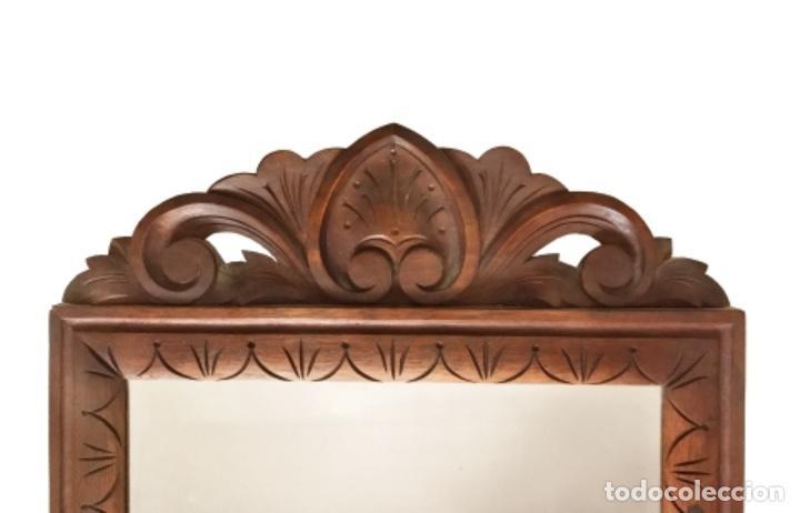 Antigüedades: Antiguo espejo de madera. 60 X 32 - Foto 2 - 114603559