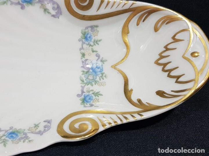 Antigüedades: Fuente / rabanera porcelana Limoges. Dorado pintado a mano. - Foto 2 - 114612491