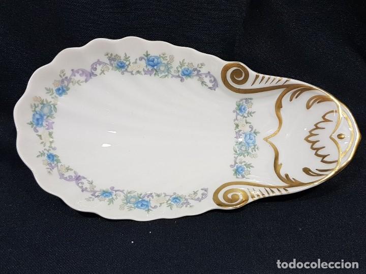 Antigüedades: Fuente / rabanera porcelana Limoges. Dorado pintado a mano. - Foto 5 - 114612491