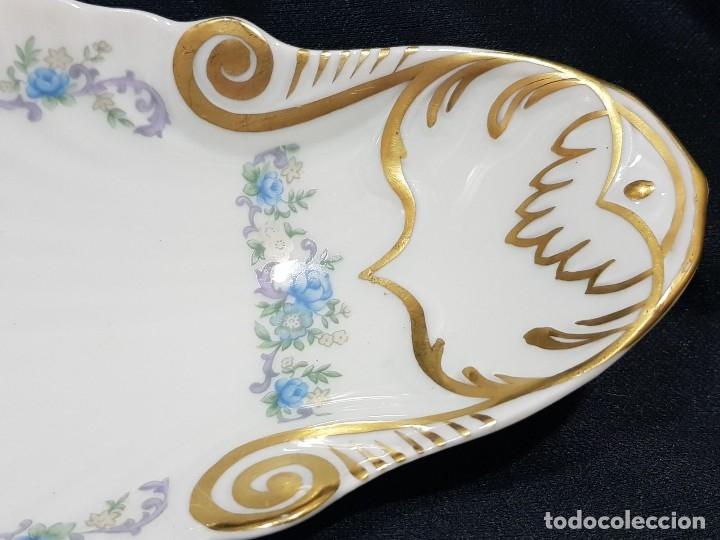 Antigüedades: Fuente / rabanera porcelana Limoges. Dorado pintado a mano. - Foto 6 - 114612491