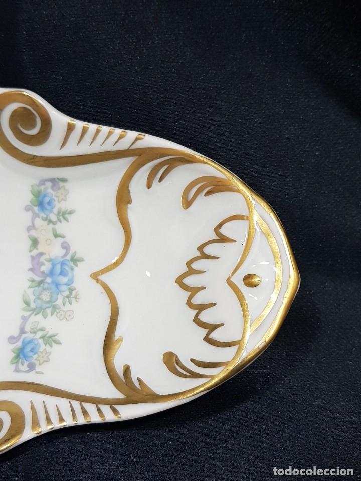 Antigüedades: Fuente / rabanera porcelana Limoges. Dorado pintado a mano. - Foto 8 - 114612491