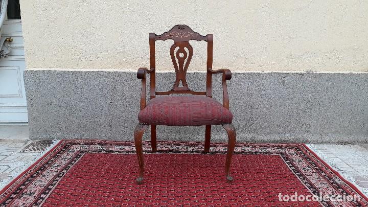 Antigüedades: Butaca descalzadora antigua estilo inglés, silla descalzadora antigua retro vintage - Foto 2 - 114625847