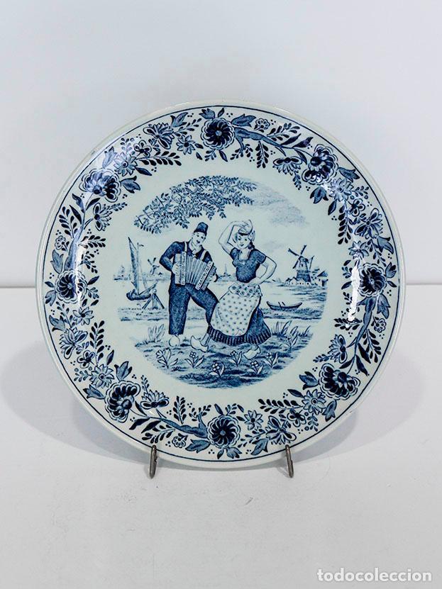 PLATO PORCELANA DELFT (Antigüedades - Porcelana y Cerámica - Holandesa - Delft)