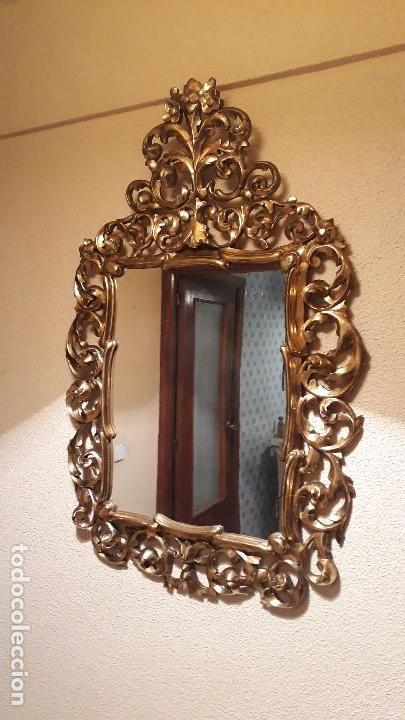 Antigüedades: Cornucopia antigua en pan de oro dorada estilo barroco. 106x70. Espejo antiguo de madera dorado - Foto 2 - 114740415