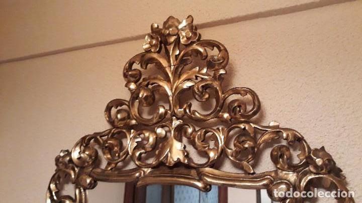 Antigüedades: Cornucopia antigua en pan de oro dorada estilo barroco. 106x70. Espejo antiguo de madera dorado - Foto 3 - 114740415