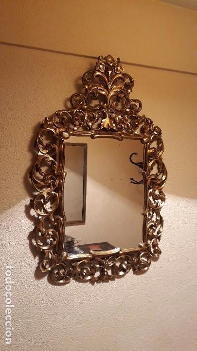 Antigüedades: Cornucopia antigua en pan de oro dorada estilo barroco. 106x70. Espejo antiguo de madera dorado - Foto 5 - 114740415