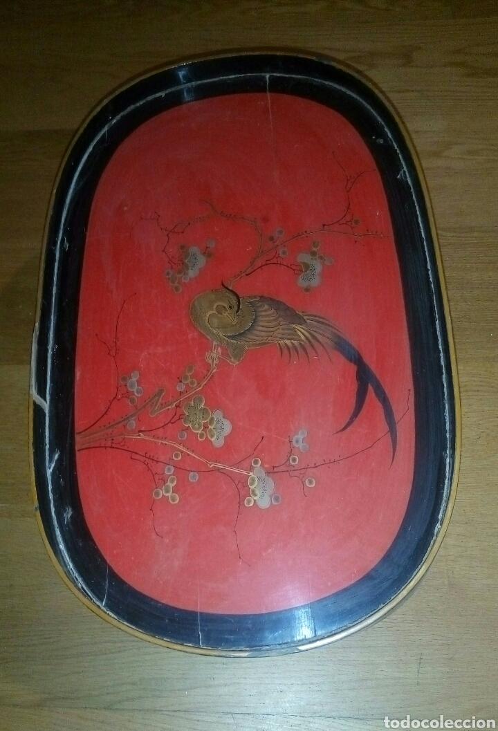BANDEJA ORIENTAL LACADA MADERA SIGLO XIX (Antigüedades - Hogar y Decoración - Bandejas Antiguas)