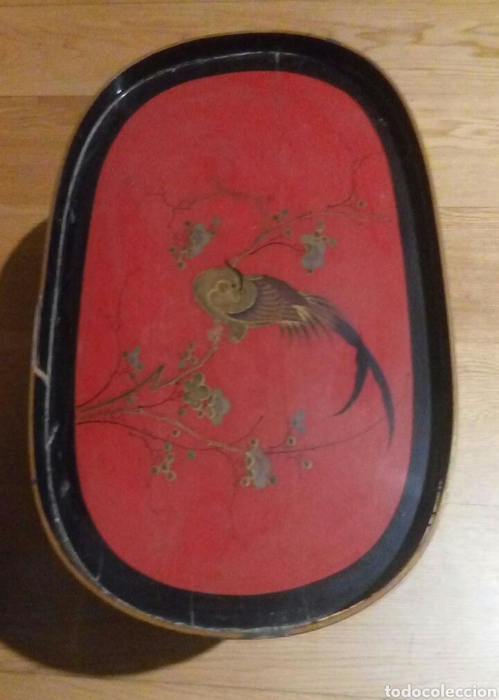 Antigüedades: Bandeja oriental lacada madera siglo XIX - Foto 2 - 114745399