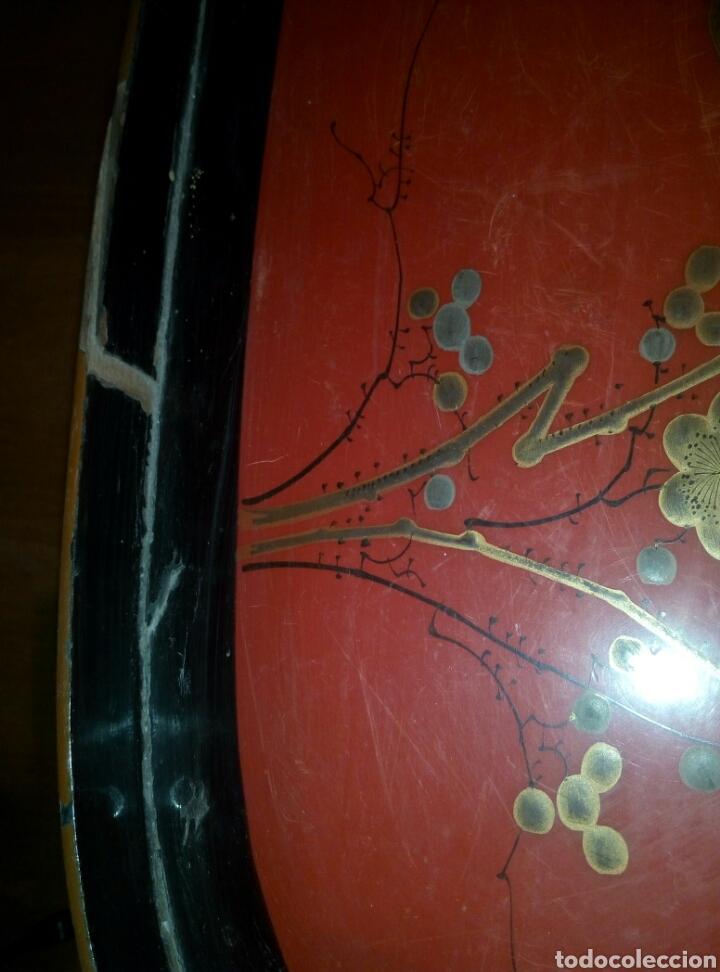 Antigüedades: Bandeja oriental lacada madera siglo XIX - Foto 3 - 114745399