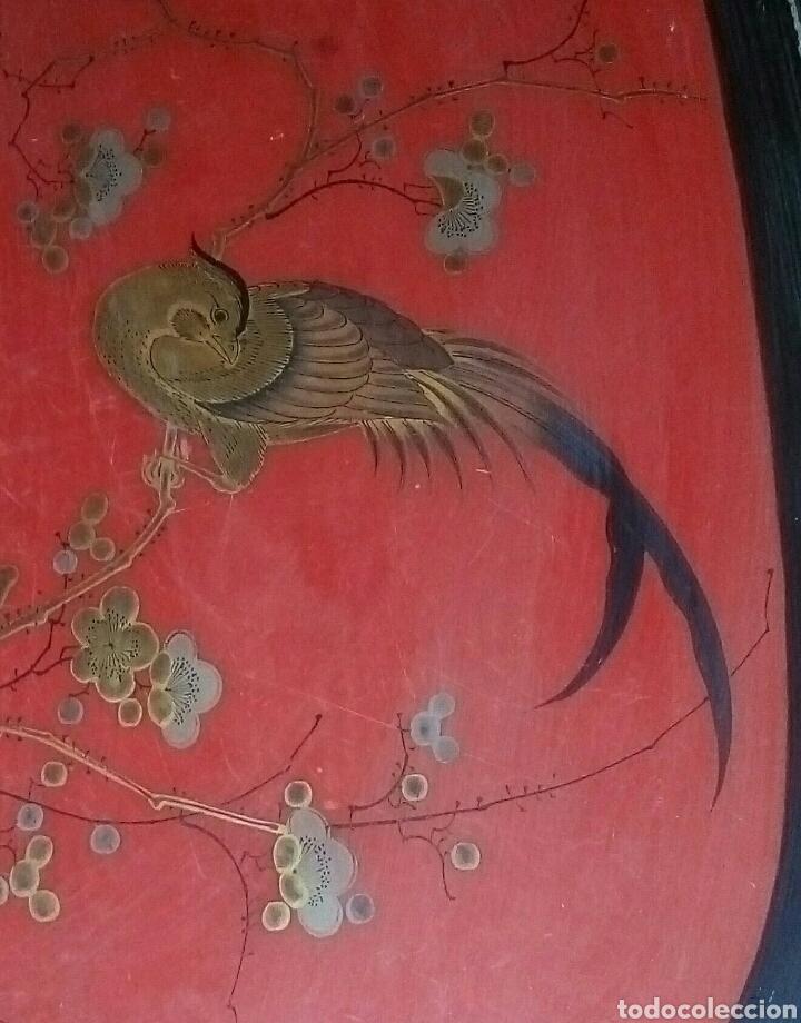 Antigüedades: Bandeja oriental lacada madera siglo XIX - Foto 5 - 114745399