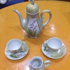 Antigüedades: JUEGO CAFE/TE CON 2 TAZAS, TETERA Y LECHERA. Lote 114779959